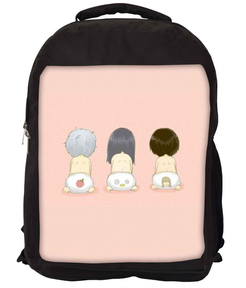 Snoogg Pink and Grey Nylon Laptop Backpack
