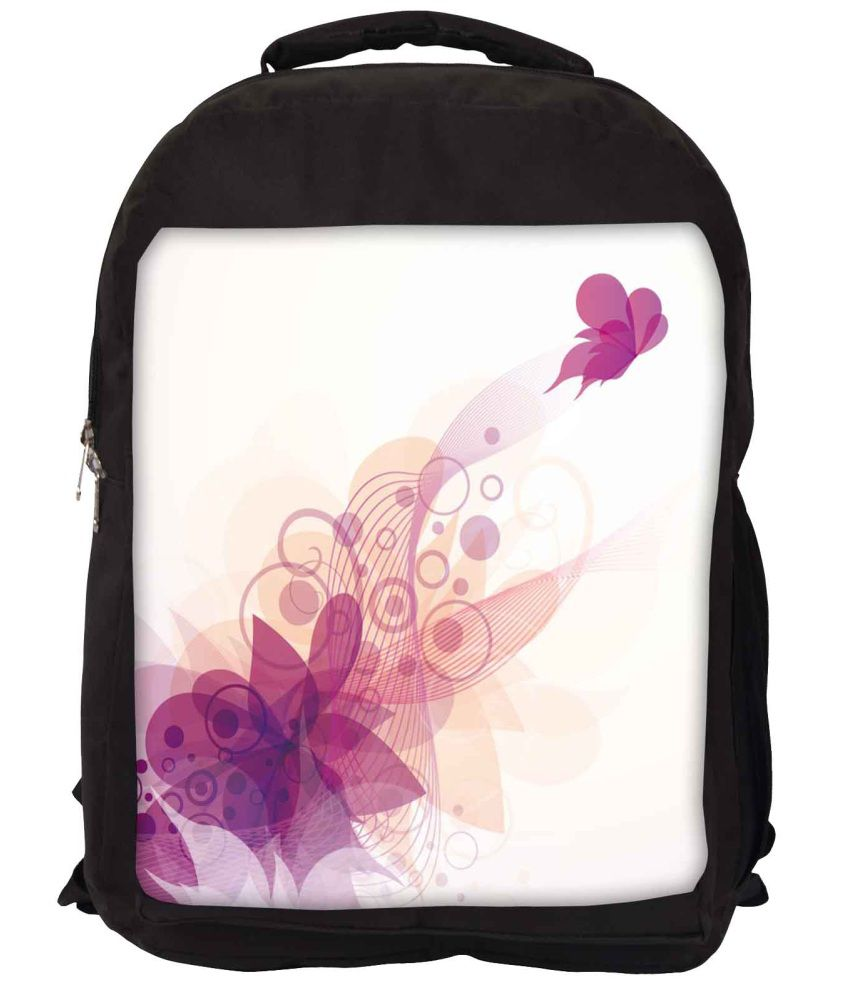 Snoogg White and Purple Nylon Laptop Backpack