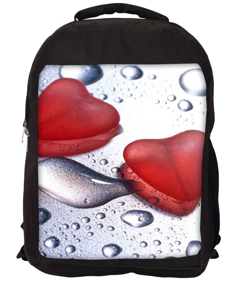 Snoogg White and Red Nylon Laptop Backpack
