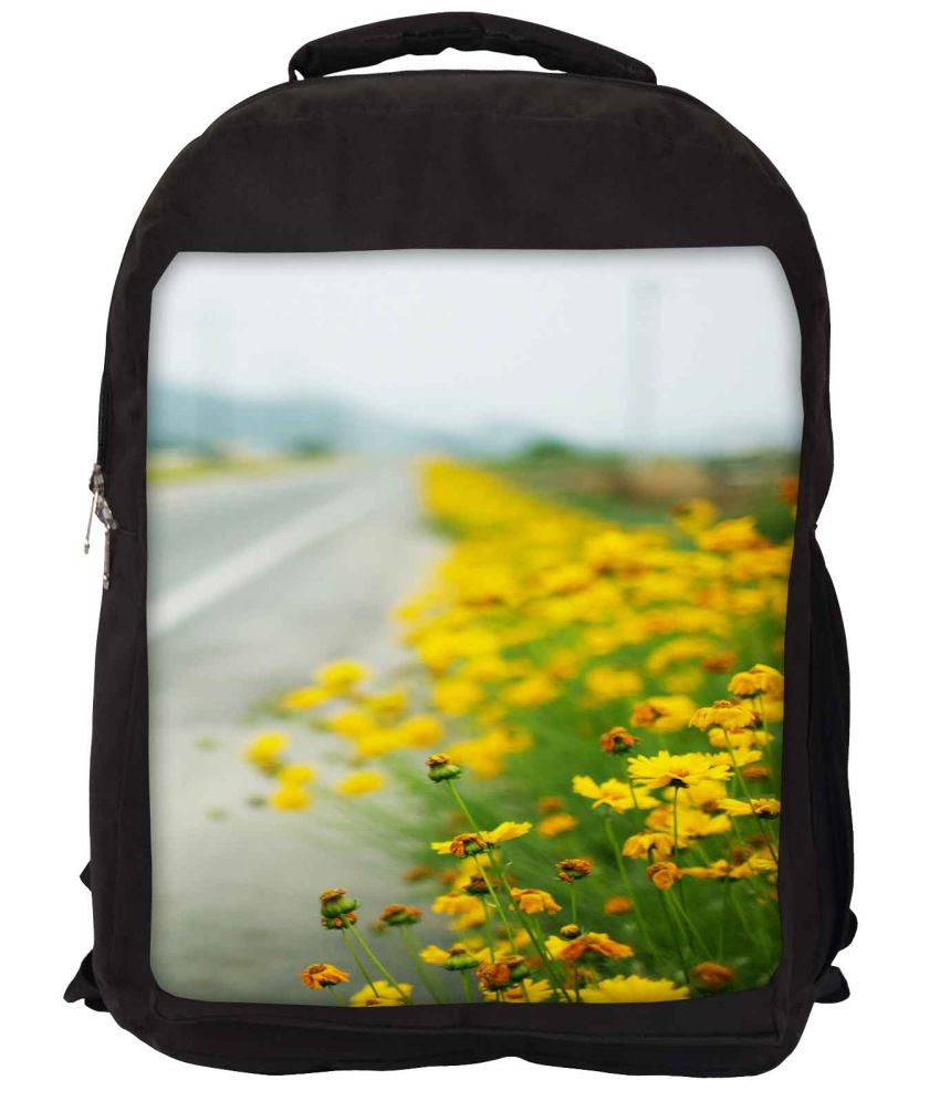 Snoogg Yellow and Green Nylon Laptop Backpack