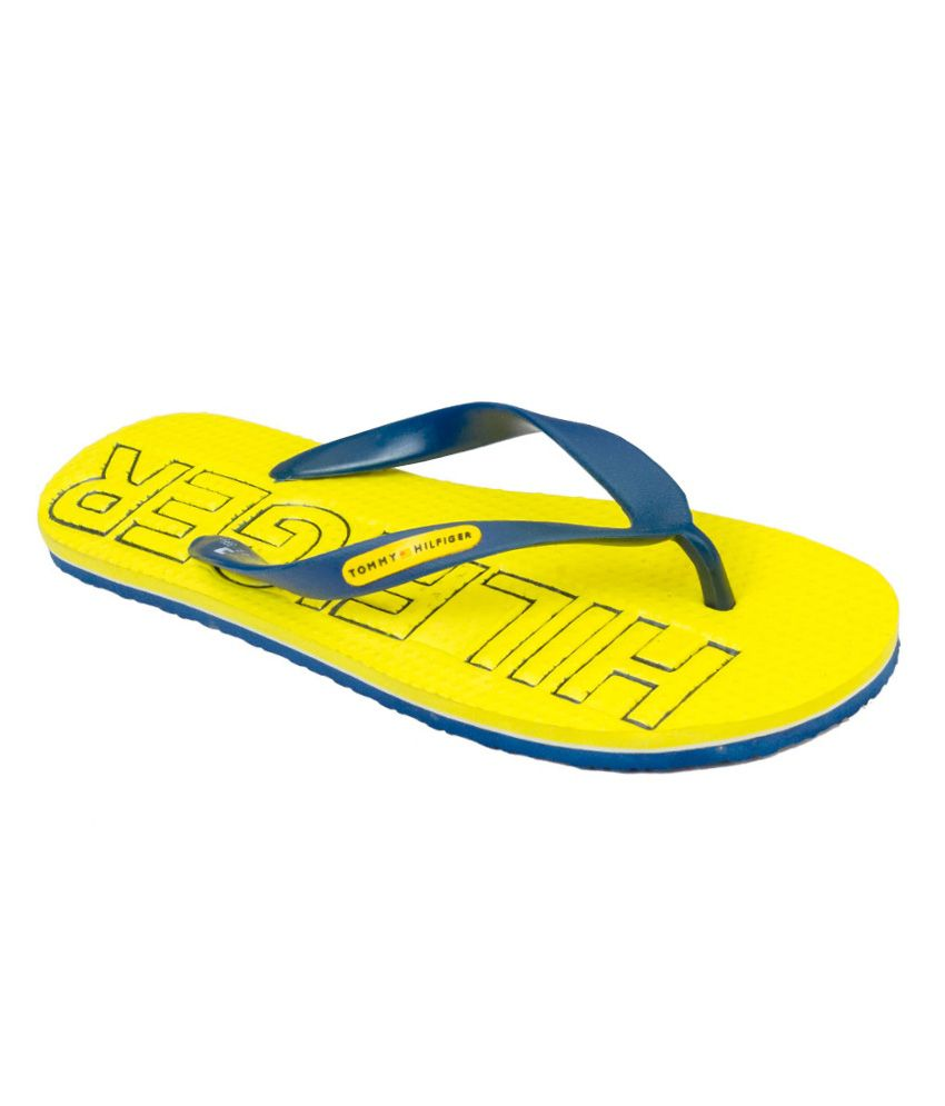 cd45ade5 Tommy Hilfiger Yellow Rubber Flip Flops Price in India- Buy Tommy Hilfiger  Yellow Rubber Flip Flops Online at Snapdeal