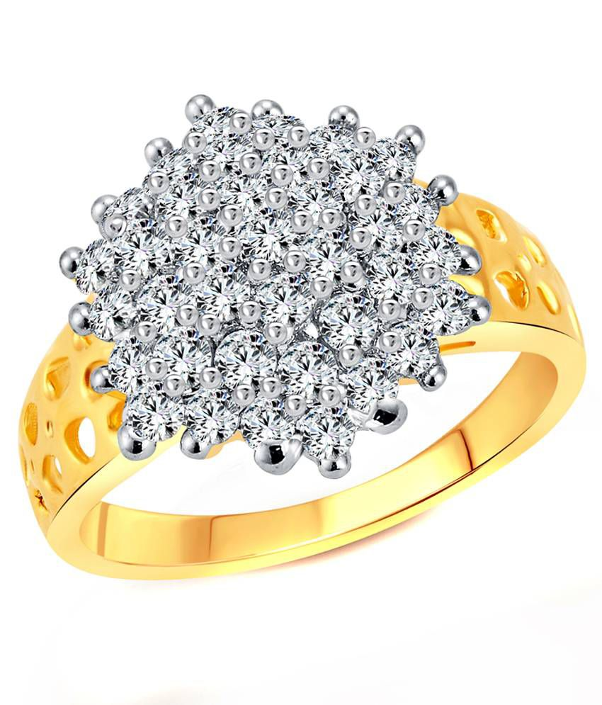 Vighnaharta Awesome Flora CZ Gold and Rhodium Plated  Ring