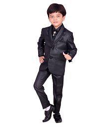 Arshia Fashions Kids Ethnic Dresses Baby Clothing Boys Stylish Party Shirt Pant Coat With Tie Black