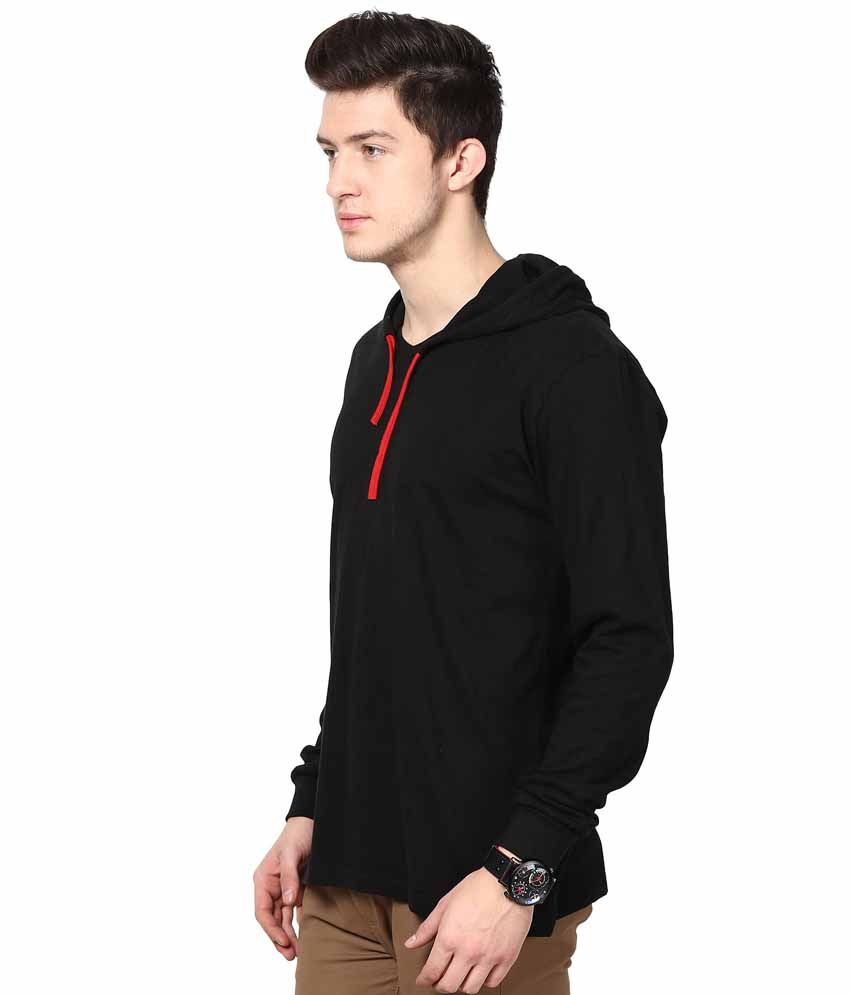 INKOVY Black Cotton Hooded T-shirt - Buy INKOVY Black Cotton ...