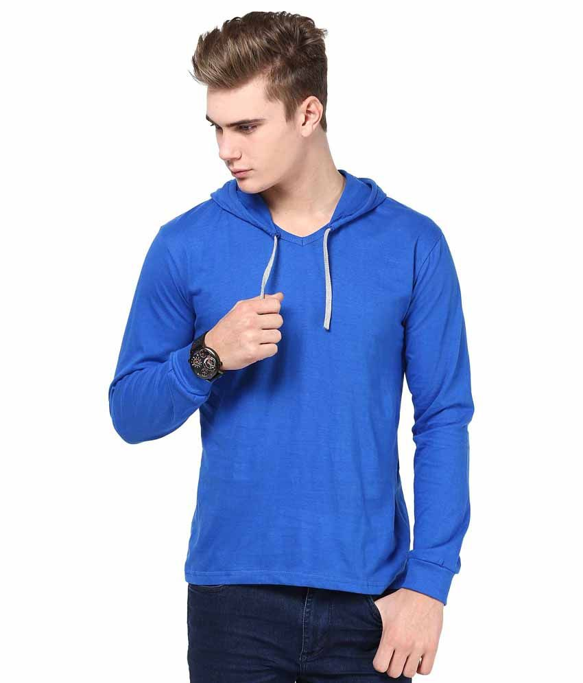 INKOVY Blue Cotton Hooded T-shirt