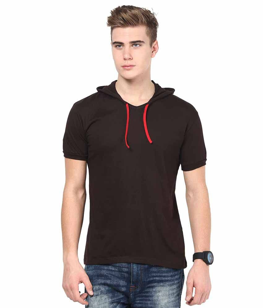 INKOVY Brown Cotton Hooded T-shirt