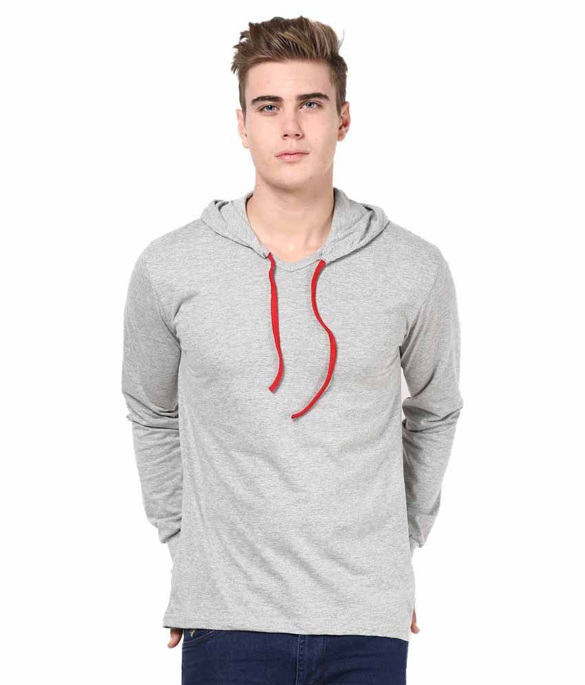 INKOVY Grey Cotton Hooded T-shirt