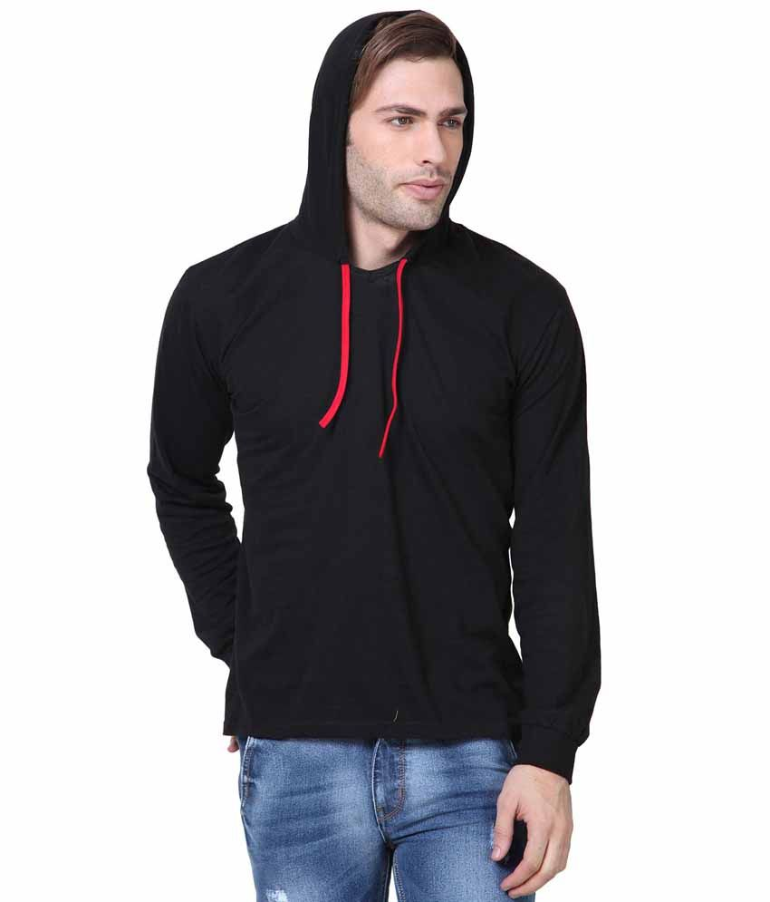 IZINC Black Cotton Hooded T-shirt
