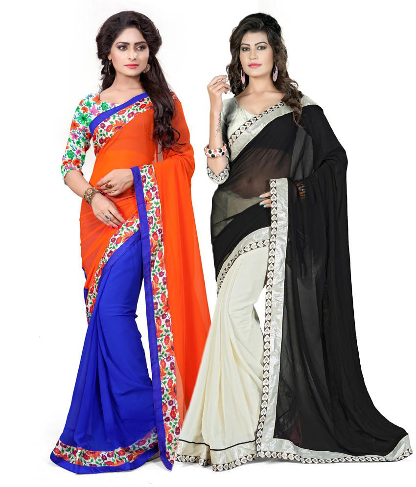 Om Sai Creation Multi Colour Georgette Pack Of 2