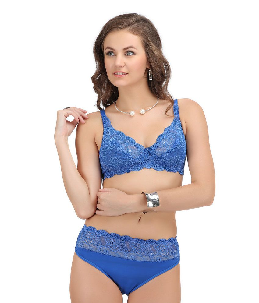 cc35390e1 Buy Sona Blue Bra   Panty Sets Online at Best Prices in India - Snapdeal