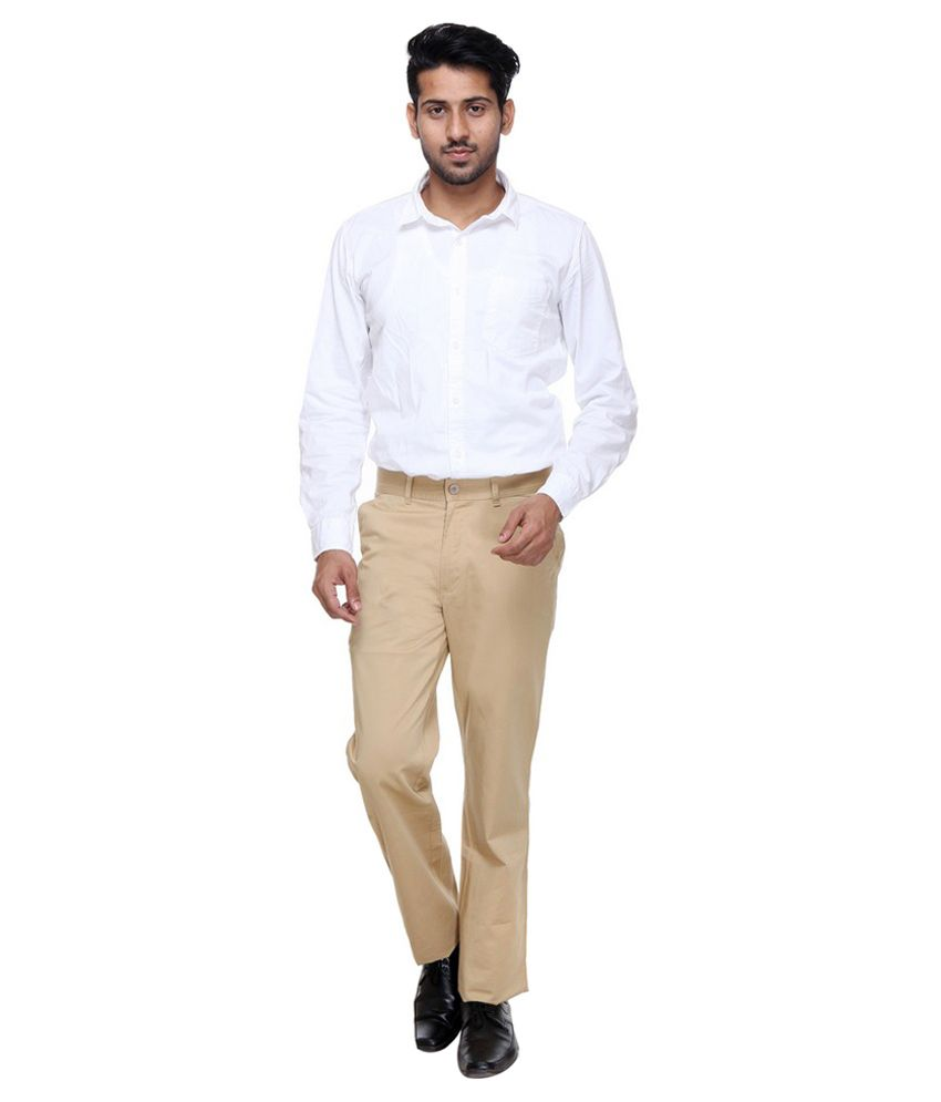Twills Beige Slim Fit Formal Flat