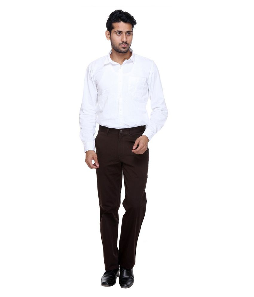 Twills Brown Slim Fit Formal Flat