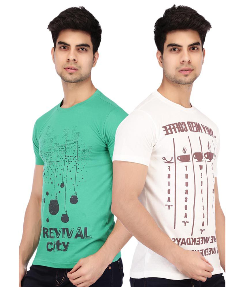 Acropolis by Shoppers Stop Green Printed Round Neck T Shirt