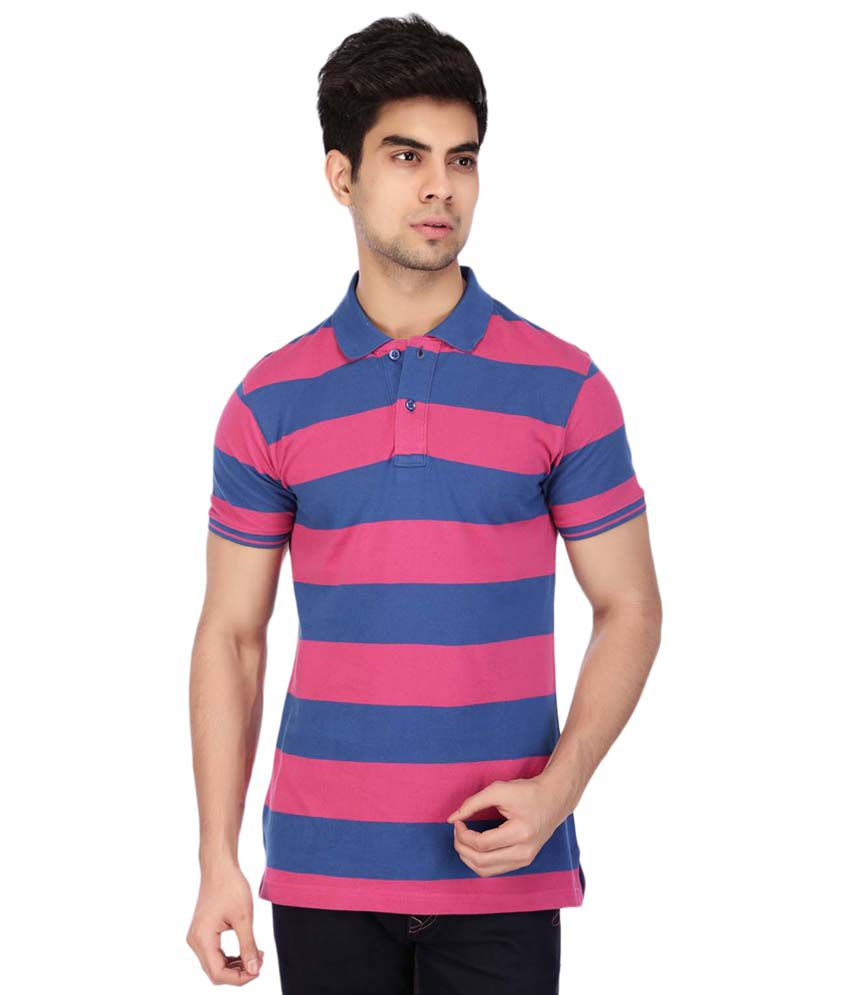 Acropolis Multicoloured Striped Polo T Shirt