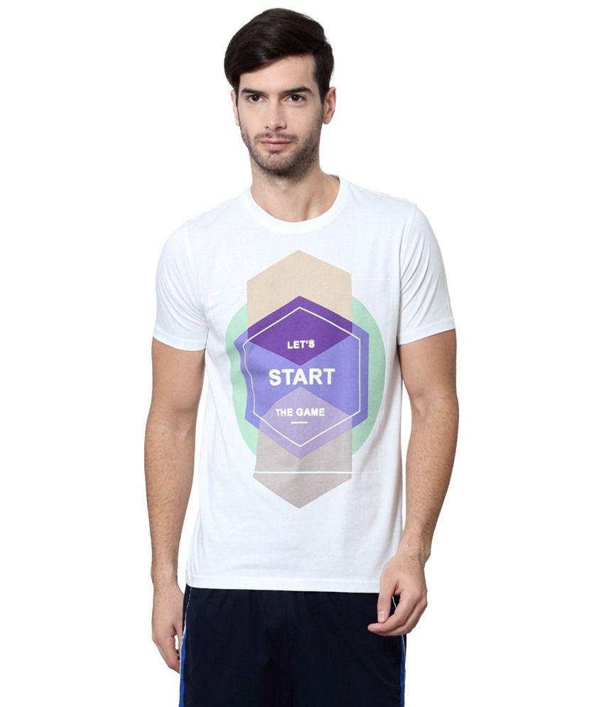 Ajile by Pantaloons White & Purple Printed Activewear T Shirt