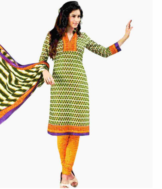 fe698156310e6 Drapes Green and Yellow Cotton Printed Unstitched Dress Material - Buy  Drapes Green and Yellow Cotton Printed Unstitched Dress Material Online at  Best ...