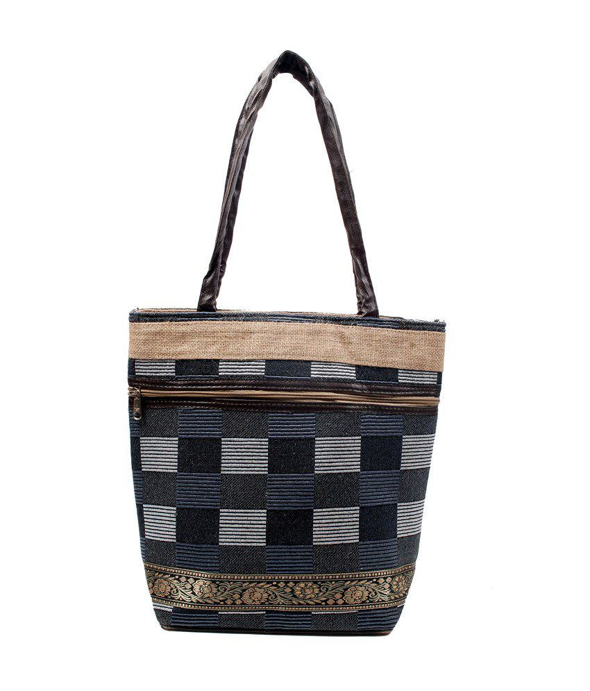 Flier Black Jute Shoulder Bag