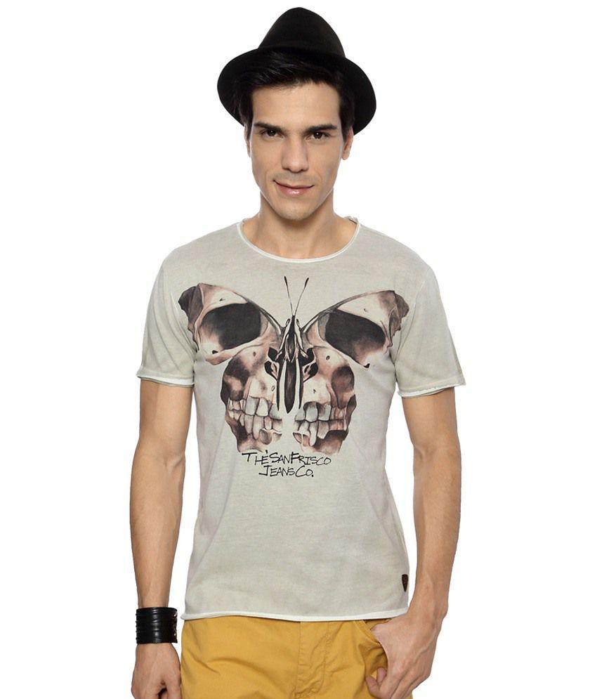 SF Jeans by Pantaloons Gray & Black Printed Activewear T Shirt