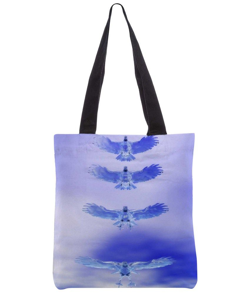 Snoogg Blue & White Polyester Unisex Tote Bag