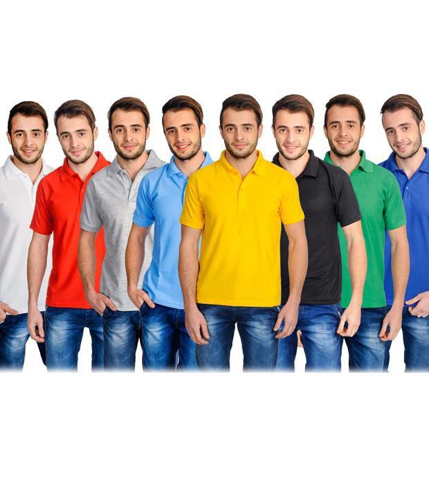 Superjoy Multicolour Half Sleeves Basic Wear Polo T-Shirt - Pack of 8
