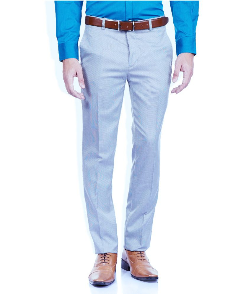 Aid Studio's Trousers Blue Slim Fit Formals Flat Trousers