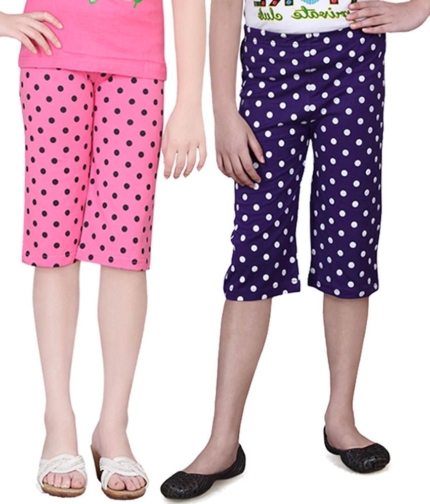 Sinimini Multicolor Cotton Capri - Pack Of 2