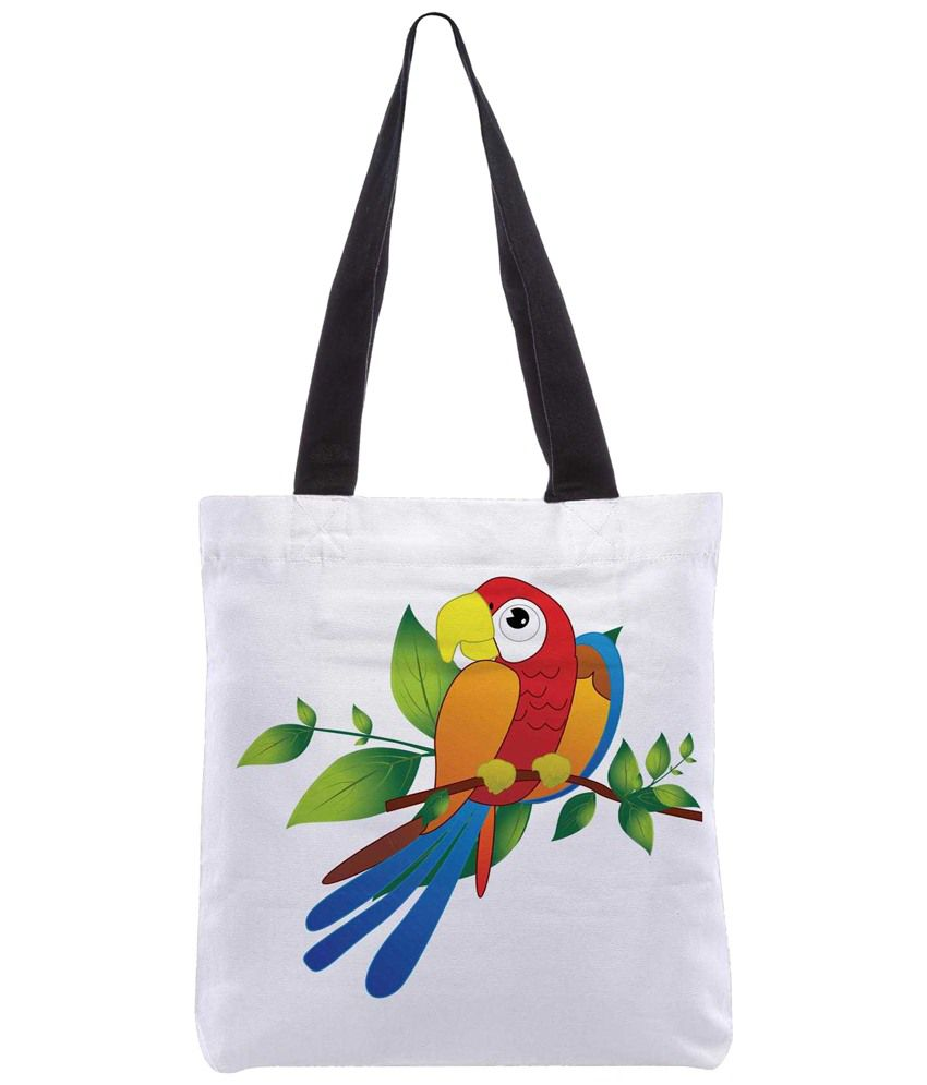 Snoogg White & Red Polyester Unisex Tote Bag