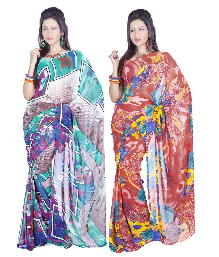 Variation Multicolour Georgette Pack Of 2