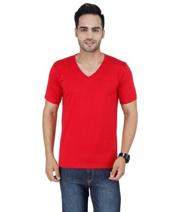 Stylogue Red Basic V Neck T Shirt
