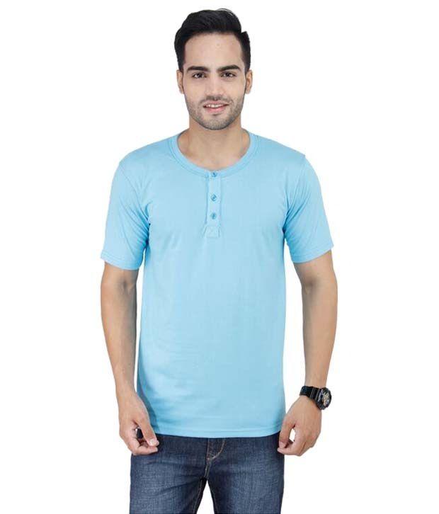 Stylogue Sky Blue Basic Henley T Shirt