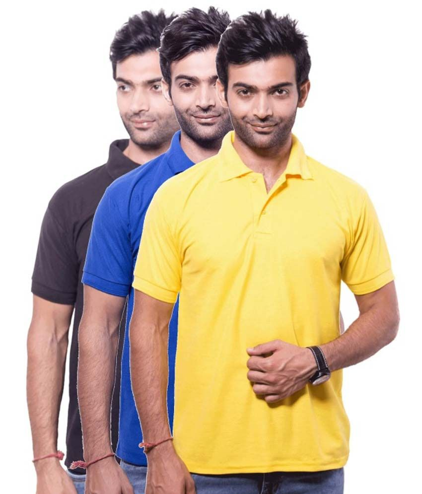 Zuvic Multicolour Half Sleeves Polo T-Shirt Pack Of 3