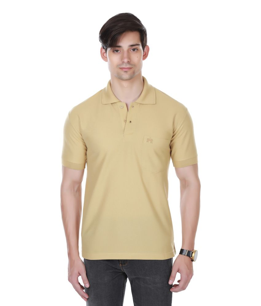 Cotton County Premium Beige Polyester Polo T-Shirt