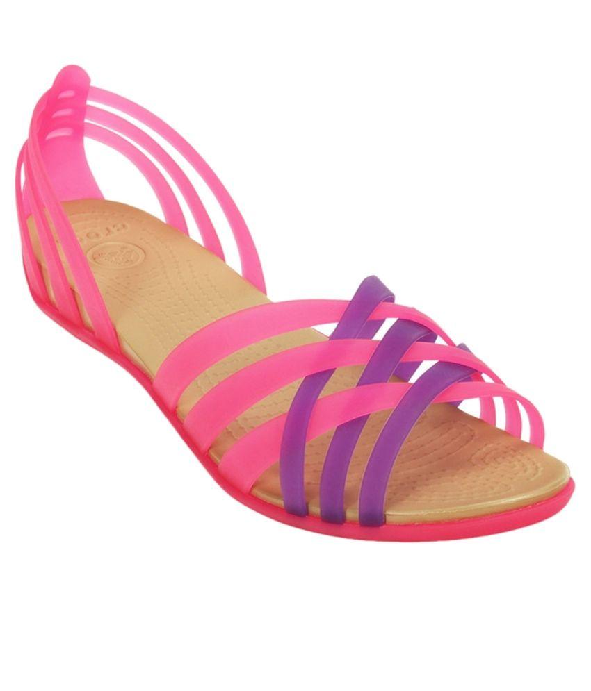 da54b32730d53 Crocs Standard Fit Pink Standard Fit Flat Slip-on   Sandal Price in ...