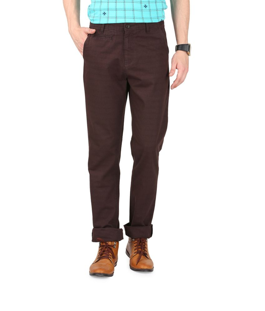 French Republic Brown Blended Cotton Trousers