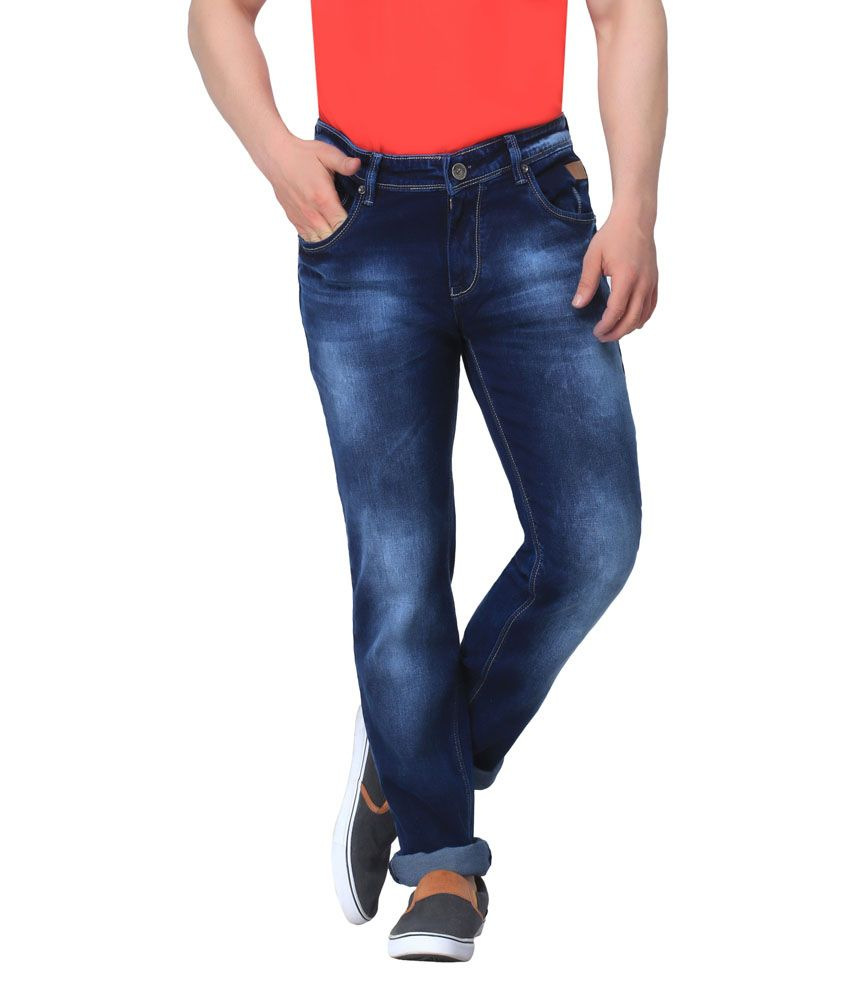 Gabon Blue Cotton Blend Slim Fit Jeans