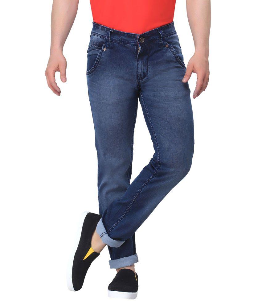Gabon Blue Cotton Blend Slim Fit Jeans