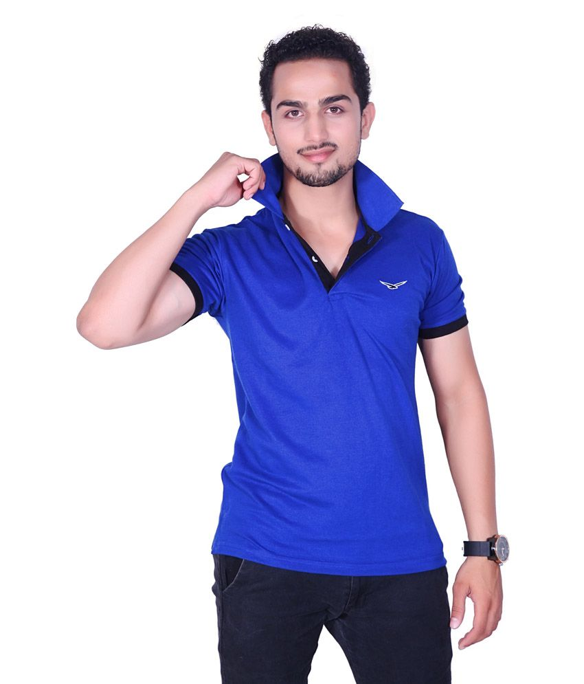 Amstead Blue Half Basics Polo T-shirt