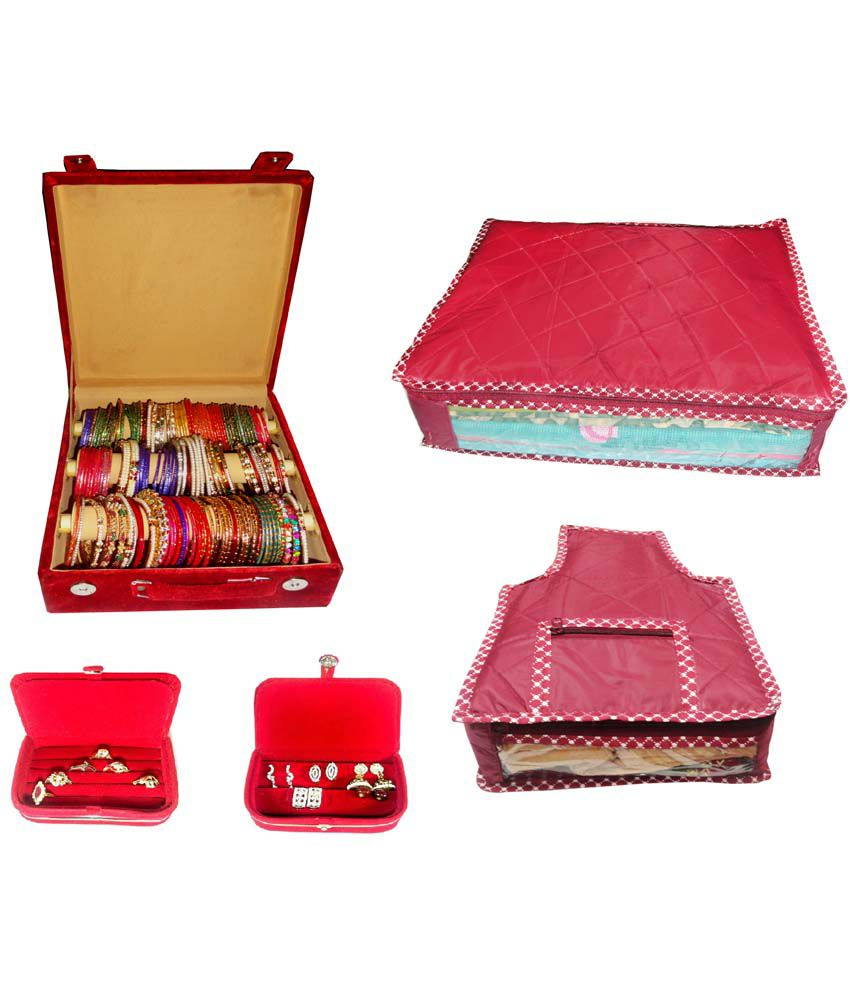 Atorakushon Combo Of Designer 3 Roll Rod Bangles Box, 1 Saree Cover, 1 Blouse Cover, 1 Earring Box And 1 Ring Box
