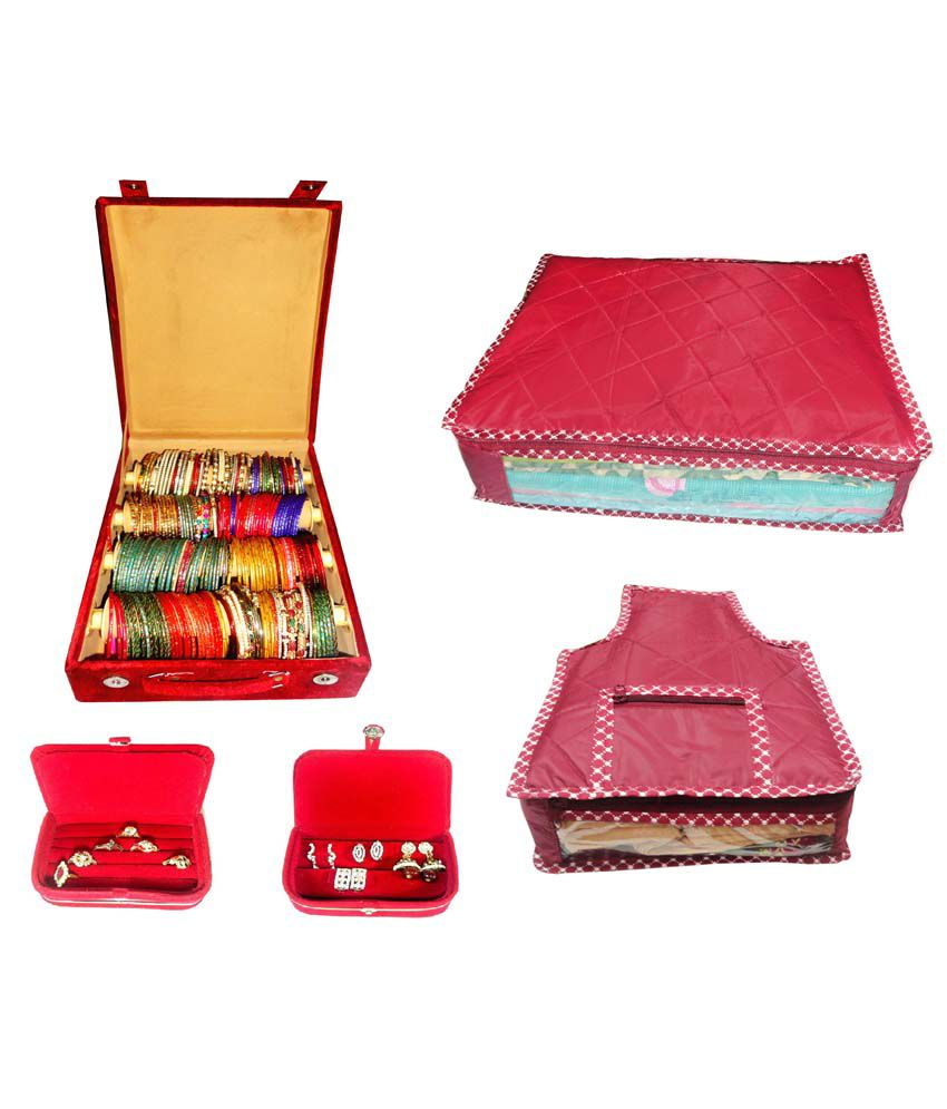 Atorakushon Combo Of Designer 4 Roll Rod Bangles Box, 1 Saree Cover, 1 Blouse Cover, 1 Earring Box And 1 Ring Box