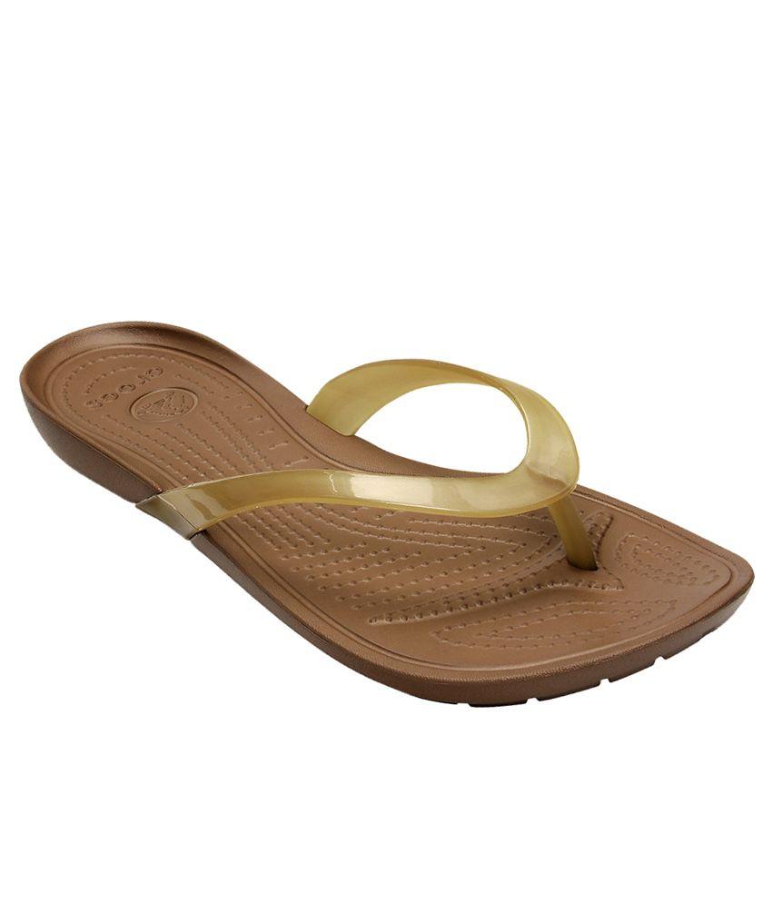 Crocs Standard Fit Brown Standard Fit Slippers & Flip Flops