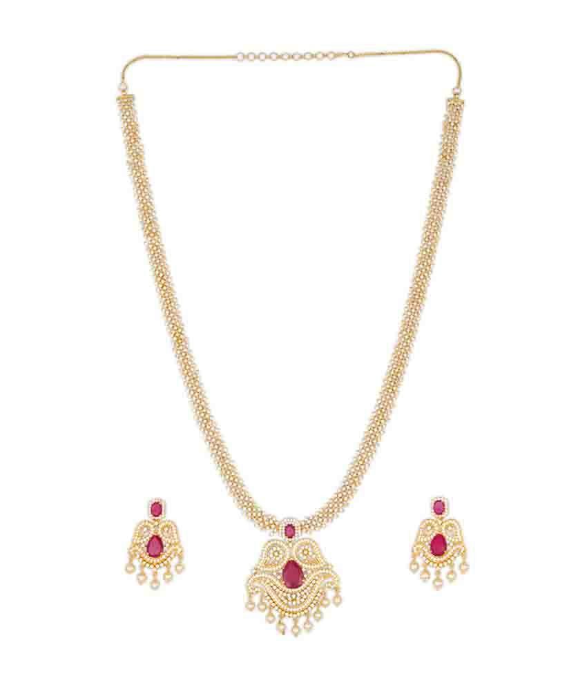 Kushal's Pink & Gold Alloy Necklace Set