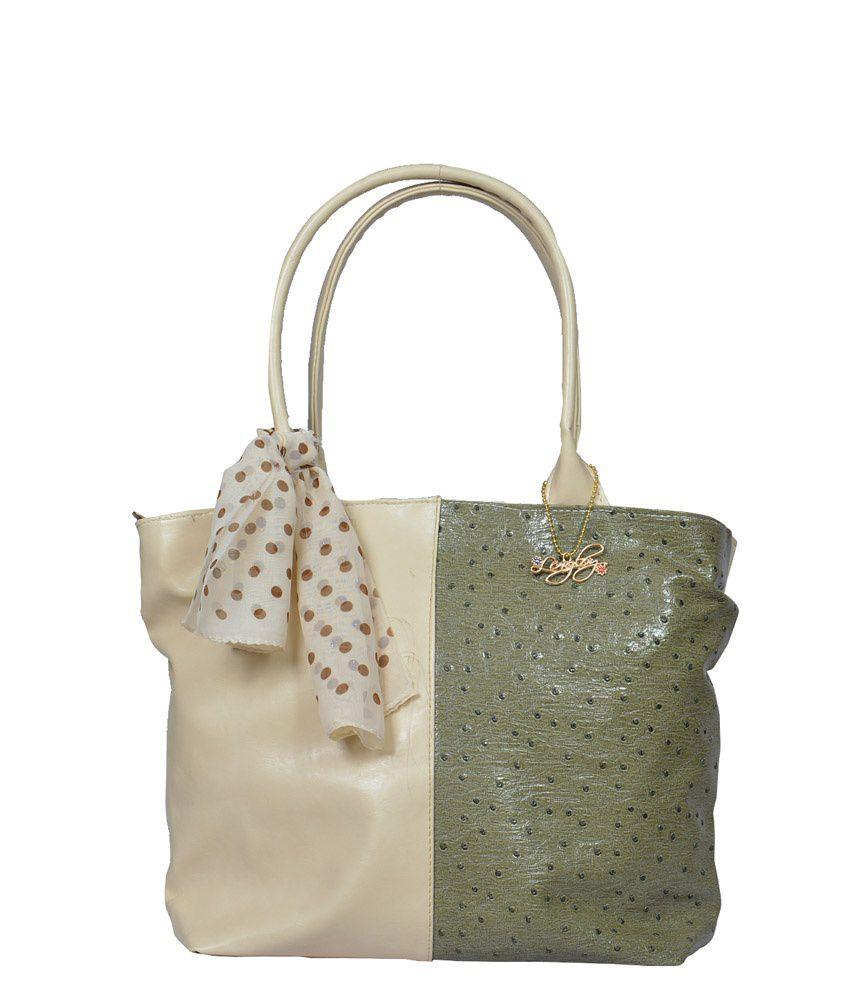 Lengloy Green and Beige Shoulder Bag