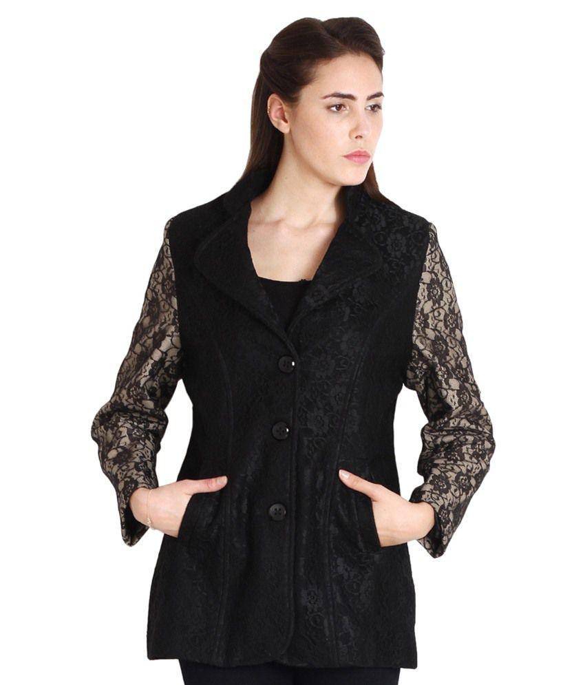 Soie Black Cotton Blend Jackets