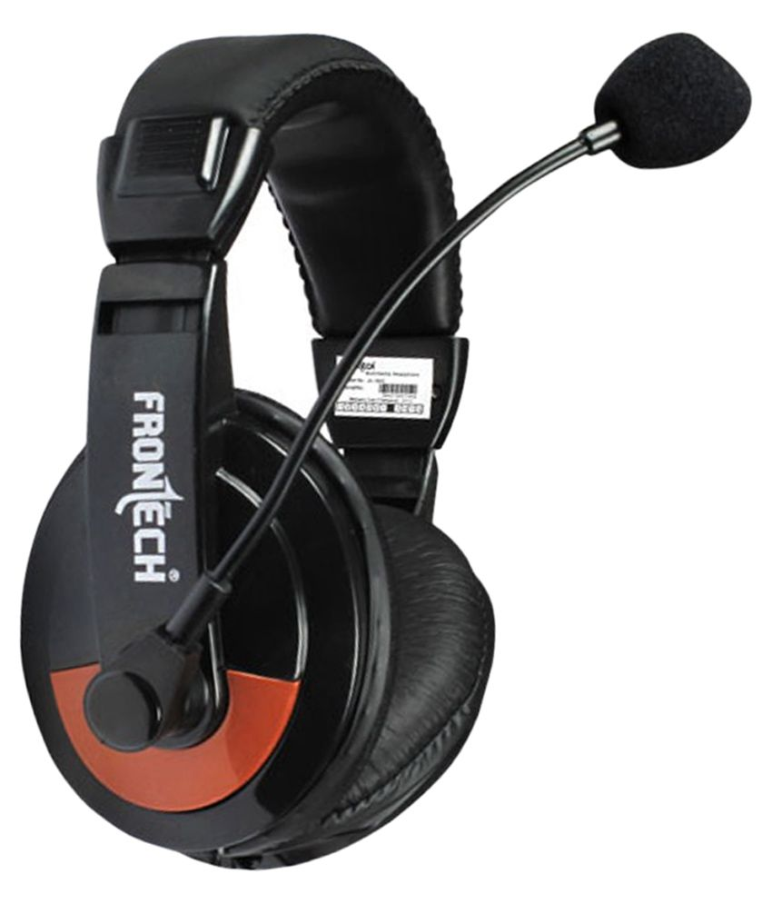 Frontech-Jil-3442-On-Ear-Wired-Headphone-With-Mic-Black