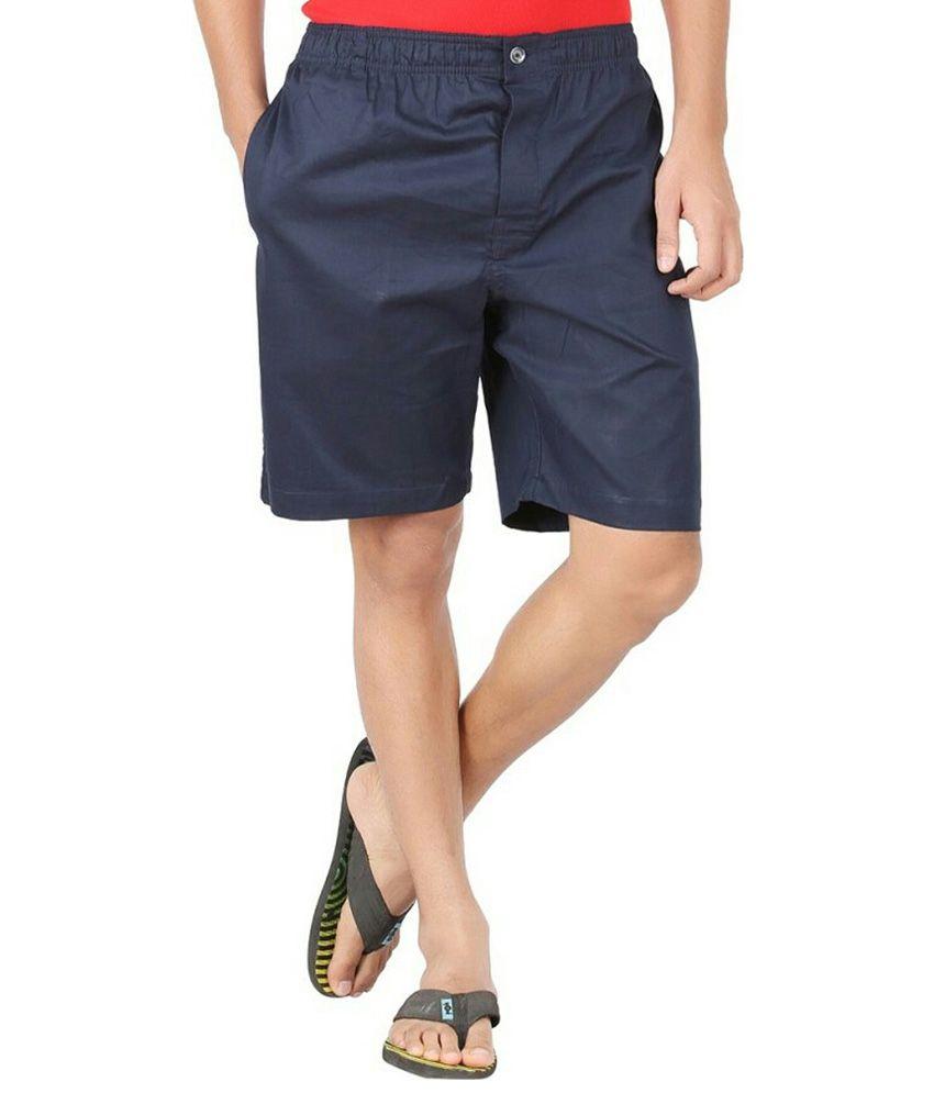 Parade Blue Cotton Solids Shorts