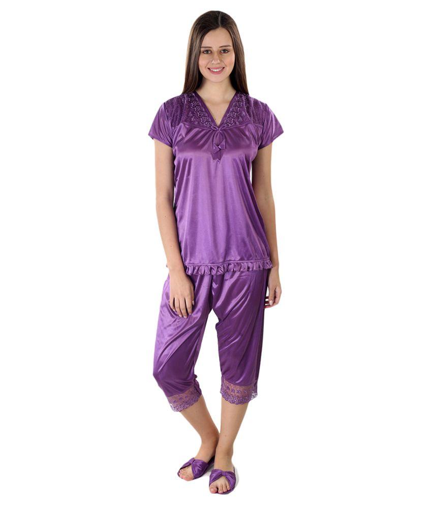 Sedeplace Purple Satin Nightsuit Sets