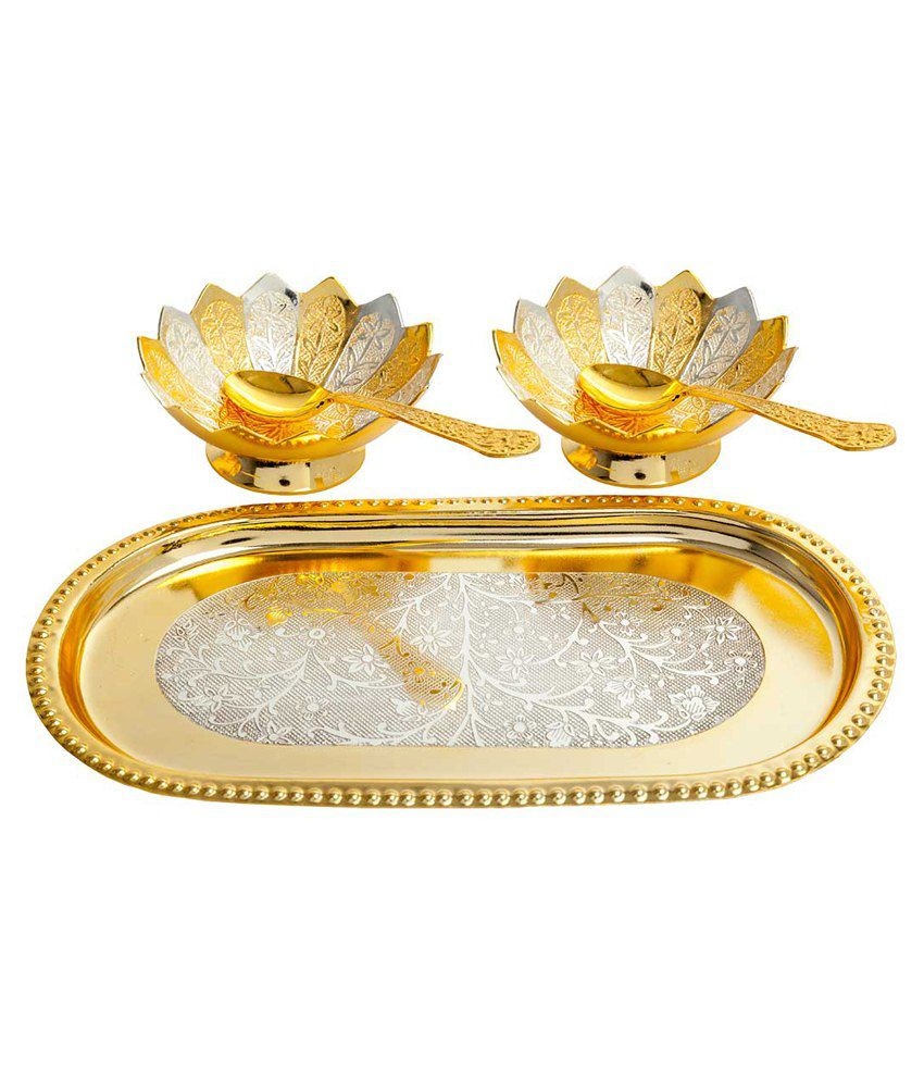 Elite Handicrafts Gold  amp; Silver Brass Bowl  amp; Spoon And Tray Set Of 5