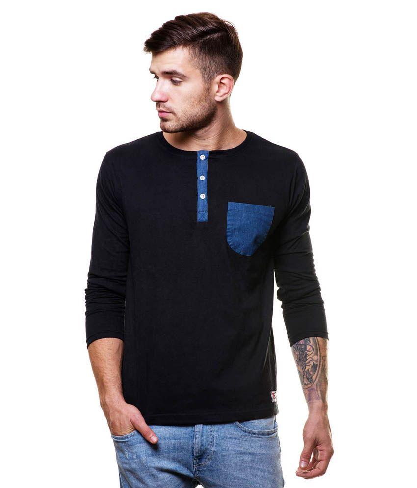 Enquotism Black Cotton Henley T-Shirt