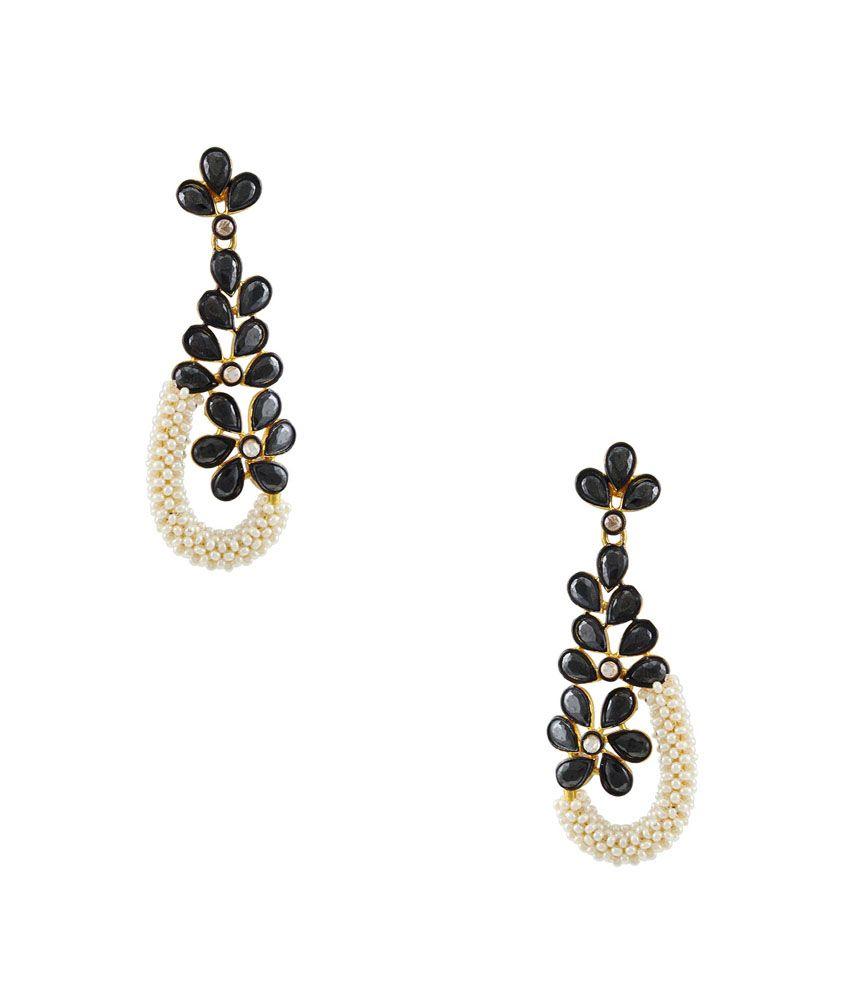 Orniza Black Bridal Hanging Earrings