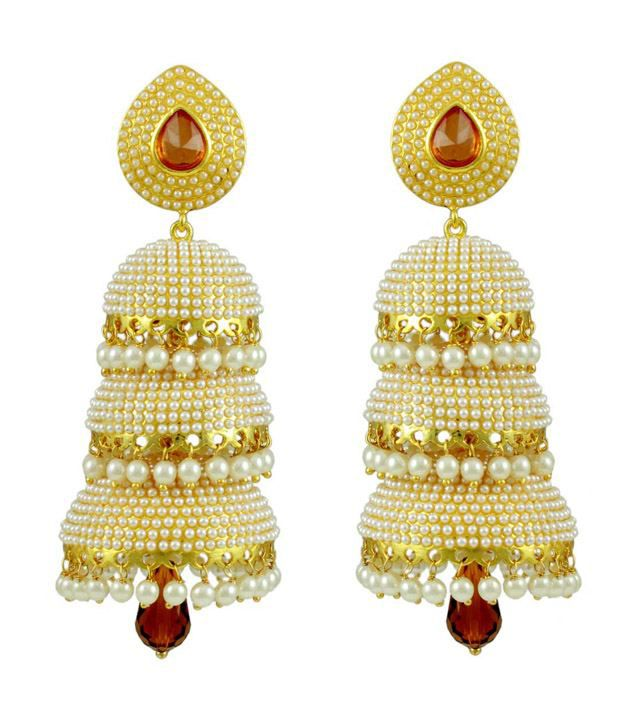 Orniza Orange Alloy Jhumki
